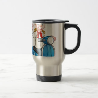 Woman Delivery Scooter Female Chef Travel Mug
