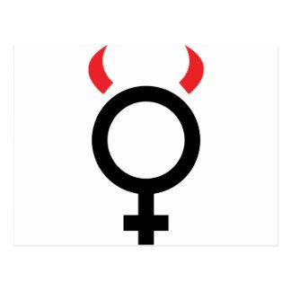 woman devil icon postcards