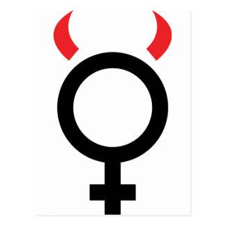 woman devil icon postcard