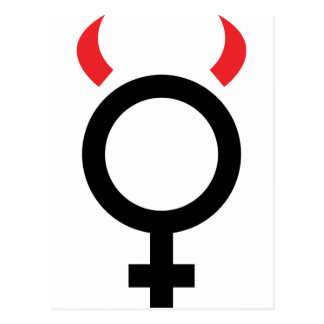 woman devil icon post card