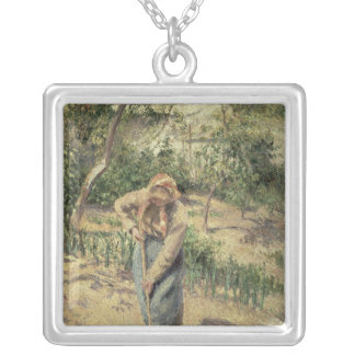 Woman Digging in an Orchard, 1882 Silver Plated Necklace