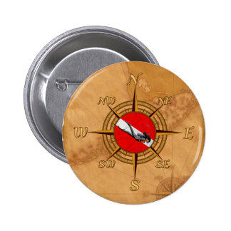 Woman Diver And Compass Pins
