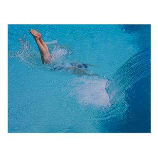 woman diving postcards