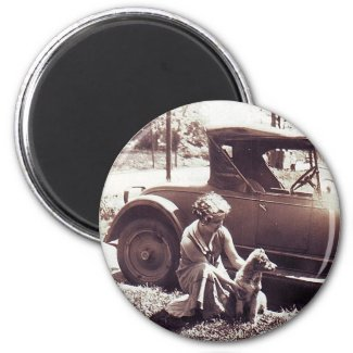 Woman Dog And Auto Vintageg Magnet
