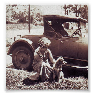 Woman Dog And Auto Waiting Vintage Photo Print