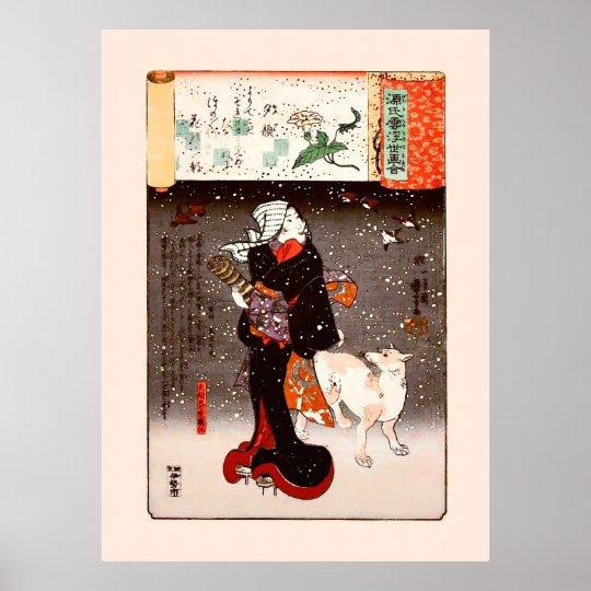 Woman & Dog in Snow Kuniyoshi Fine Art Poster