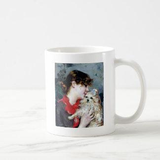 Woman Dog Pet Love Painting Coffee Mug