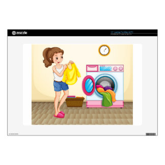 Woman doing laundry at home laptop skins