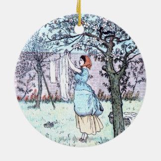 Woman doing laundry ceramic ornament