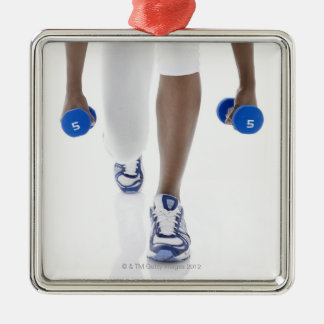 Woman doing lunges with dumbbells (low section) metal ornament