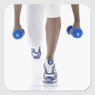 Woman doing lunges with dumbbells (low section) square sticker