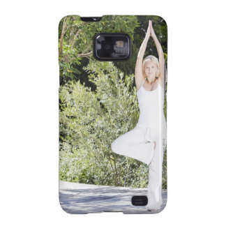 Woman doing yoga on patio galaxy s2 cover