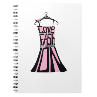 """Woman dress from words  """"I love fashion"""" Spiral Notebook"""