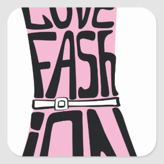 """Woman dress from words  """"I love fashion"""" Square Sticker"""
