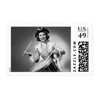 Woman dressed as drummer from American Stamp