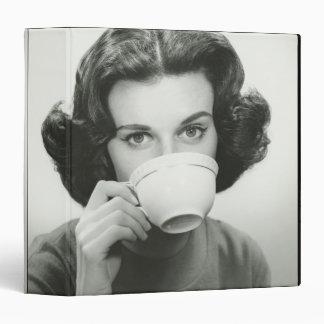 Woman Drinking 3 Ring Binder
