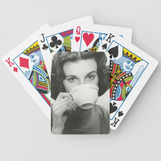 Woman Drinking Bicycle Playing Cards