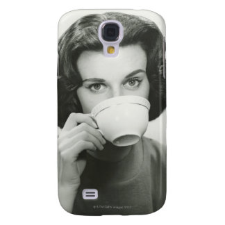 Woman Drinking Samsung Galaxy S4 Covers