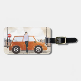 Woman Drinking Luggage Tag