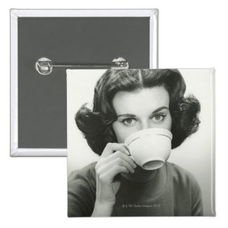 Woman Drinking Pinback Button