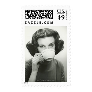 Woman Drinking Postage Stamp