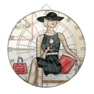 Woman Drinking Red Wine Dartboard