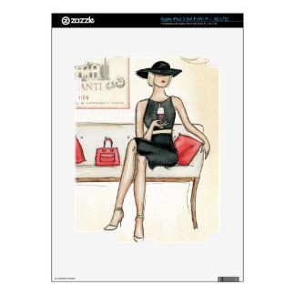 Woman Drinking Red Wine Decals For iPad 3