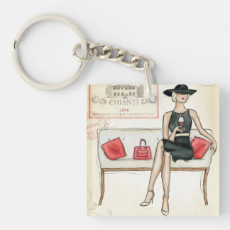 Woman Drinking Red Wine Keychain