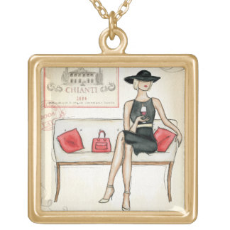 Woman Drinking Red Wine Square Pendant Necklace