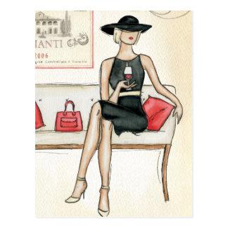 Woman Drinking Red Wine Postcard