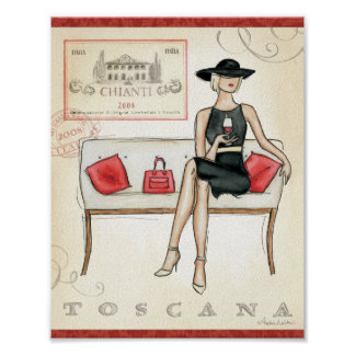 Woman Drinking Red Wine Poster