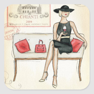 Woman Drinking Red Wine Square Sticker