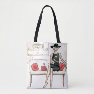 Woman Drinking Red Wine Tote Bag