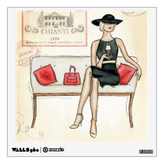 Woman Drinking Red Wine Wall Decal