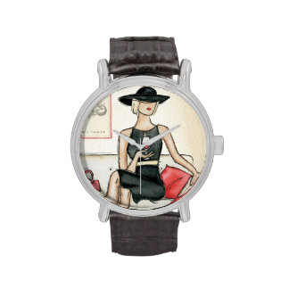 Woman Drinking Red Wine Wristwatch