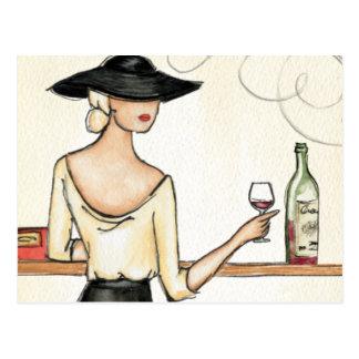 Woman Drinking Spanish Wine Postcard