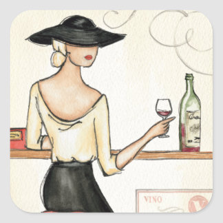 Woman Drinking Spanish Wine Square Sticker