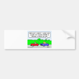 woman driver driving in front bumper sticker