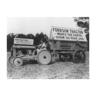 Woman Driving Fordson Tractor Photograph Canvas Print