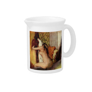 Woman Drying Her Neck by Edgar Degas Drink Pitcher