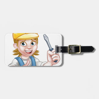 Woman Electrician Holding Screwdriver Bag Tag