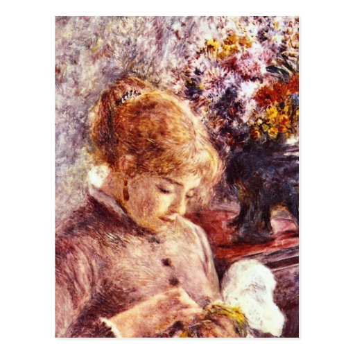 Woman Embroidering by Pierre Renoir Post Cards