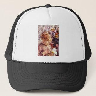 Woman Embroidering by Pierre Renoir Trucker Hat