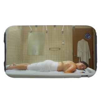 Woman enjoying hydrotherapy in vichy shower iPhone 3 tough case