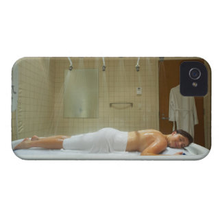 Woman enjoying hydrotherapy in vichy shower iPhone 4 Case-Mate case