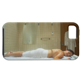 Woman enjoying hydrotherapy in vichy shower iPhone SE/5/5s case