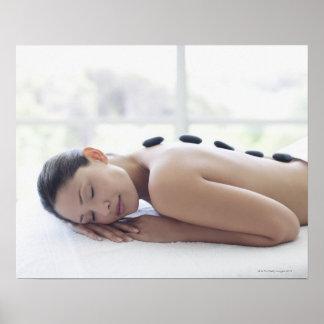 Woman enjoying lastone therapy poster