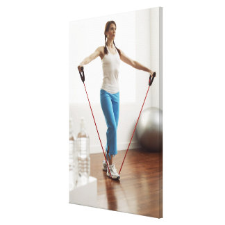 Woman Exercising Stretched Canvas Prints