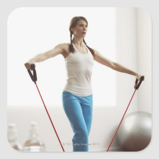 Woman Exercising Square Sticker