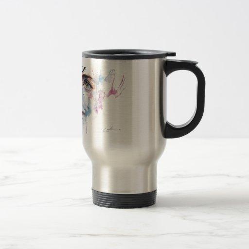 woman expresión tazas de café